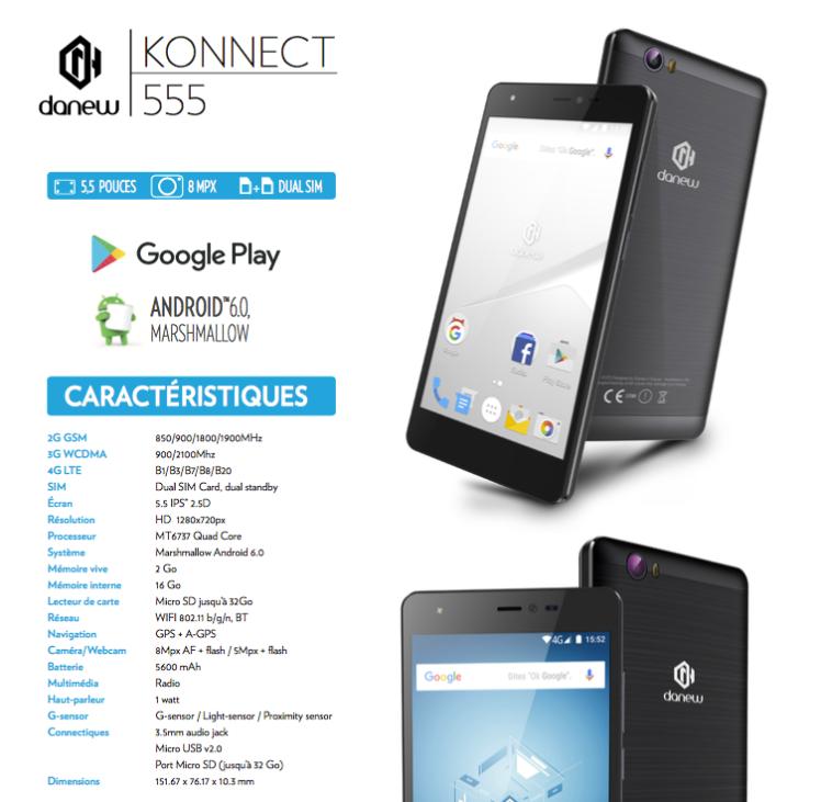 K555 la fiche technique, danew france, danew côte d'ivoire, mobile, smartphone, innovation